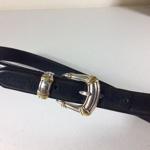 Fossil Black Belt Silver Trimmed In Gold Size S